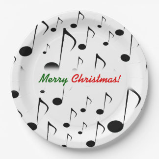 """Merry Christmas!"" + Many Musical Notes Pattern Paper Plate"