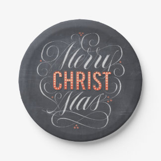 Merry CHRISTmas Marquee Chalkboard Lettering Paper Plate