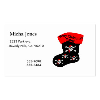 Merry Christmas Matey Stocking Double-Sided Standard Business Cards (Pack Of 100)