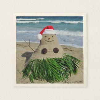 Merry Christmas Mele Kalikimaka Sandman Snowman Paper Napkins