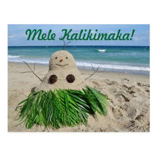 Merry Christmas/ Mele Kalikimaka Snowman Sandman Postcard