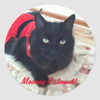 Merry Christmas - Meowy Catmus! featuring Smoky Classic Round Sticker