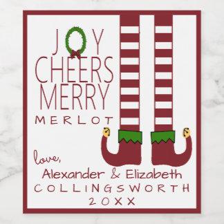 Merry Christmas Merlot Wine Label Personalize
