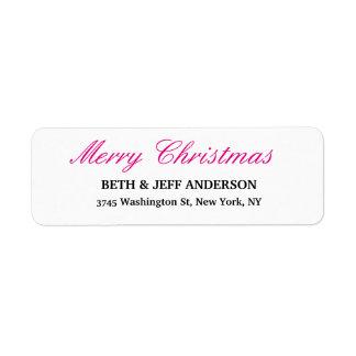 Merry Christmas Message Black White Family Sheet Return Address Label