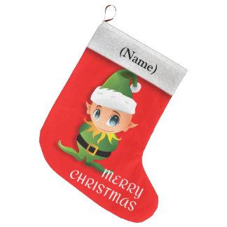 Merry Christmas message: cute Santa´s elf, Large Christmas Stocking