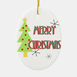 merry christmas mid century modern tree red blue ceramic oval decoration