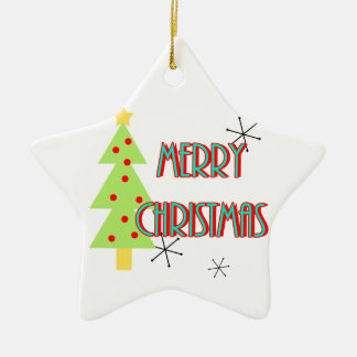 merry christmas mid century modern tree red blue ceramic star decoration