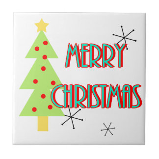 merry christmas mid century modern tree red blue ceramic tile