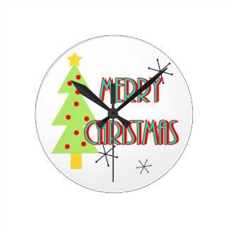 merry christmas mid century modern tree red blue clock