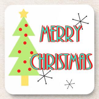merry christmas mid century modern tree red blue drink coaster