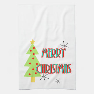 merry christmas mid century modern tree red blue hand towels