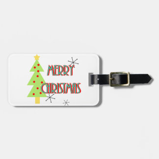 merry christmas mid century modern tree red blue luggage tag
