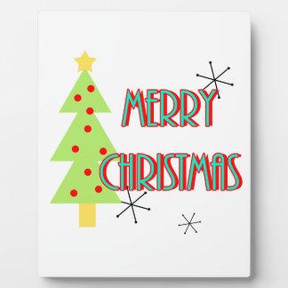merry christmas mid century modern tree red blue plaque