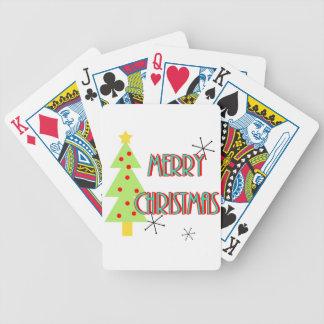 merry christmas mid century modern tree red blue poker deck