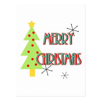 merry christmas mid century modern tree red blue postcard