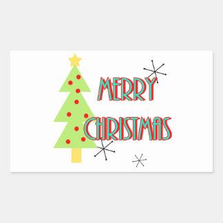 merry christmas mid century modern tree red blue rectangular sticker