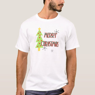 merry christmas mid century modern tree red blue T-Shirt