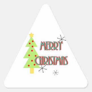 merry christmas mid century modern tree red blue triangle sticker