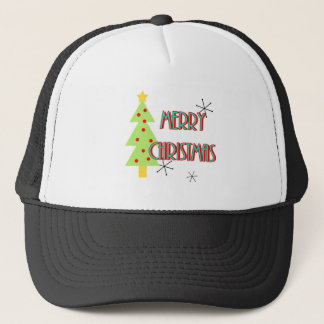 merry christmas mid century modern tree red blue trucker hat