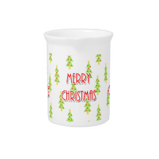 merry christmas mid century modern trees beverage pitchers