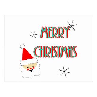 merry christmas mid century santa claus postcard