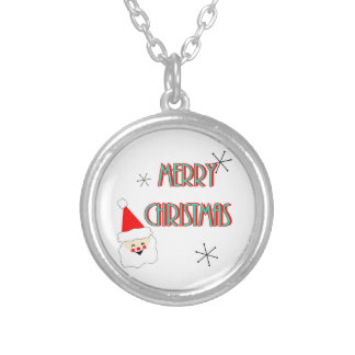 merry christmas mid century santa claus silver plated necklace