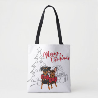 Merry Christmas Min Pin Owner Tote Bag