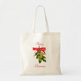 Merry Christmas mistletoe Budget Tote Bag