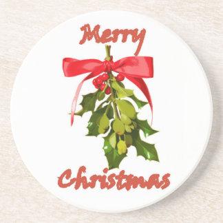 merry christmas mistletoe drink coaster