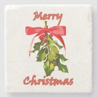 merry christmas mistletoe stone coaster