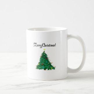 Merry Christmas Modern Art Tree Mugs