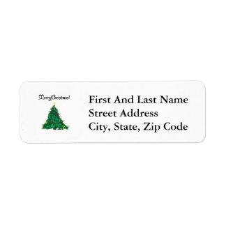Merry Christmas Modern Art Tree Return Address Label