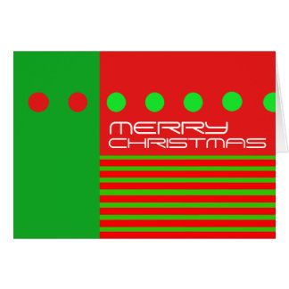 Merry Christmas Modern Card Dots Stripe Green Red
