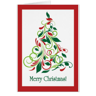 Merry Christmas modern Christmas tree design Greeting Card