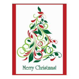 Merry Christmas modern Christmas tree design Postcard
