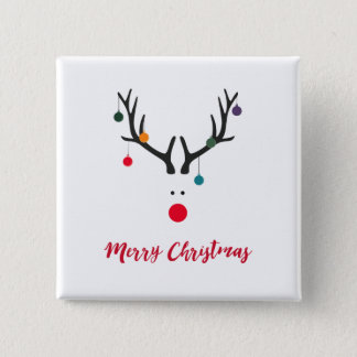 Merry Christmas modern minimalist reindeer white 15 Cm Square Badge