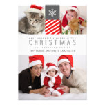 Merry Christmas Modern Stripes Holiday Photo Cards Personalized Announcement