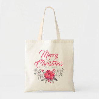 Merry Christmas Modern Typography & Bouquet Tote Bag