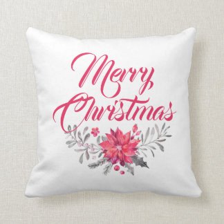 Merry Christmas  Modern Typography & Flowers Cushion