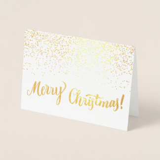 Merry Christmas Modern Typography Script Sparkle Foil Card