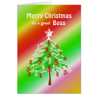 Merry Christmas Money Tree for Boss Greeting Card