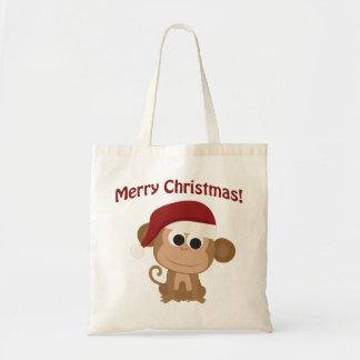 Merry Christmas! Monkey Budget Tote Bag