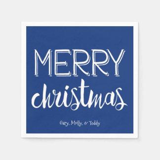 Merry Christmas Monogram Holiday Napkin Disposable Napkin