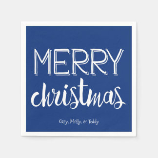 Merry Christmas Monogram Holiday Napkin Paper Napkins