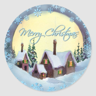 MERRY CHRISTMAS MOON by SHARON SHARPE Round Sticker