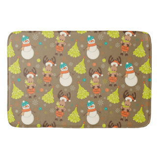 Merry Christmas Moose And Snowman Bath Mat