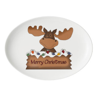 Merry Christmas Moose Porcelain Serving Platter