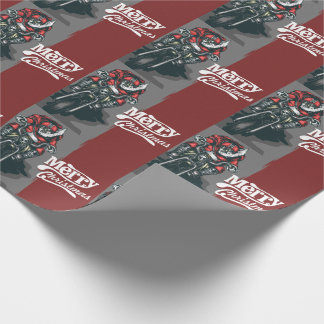 Merry Christmas Motorcycle Santa Wrapping Paper