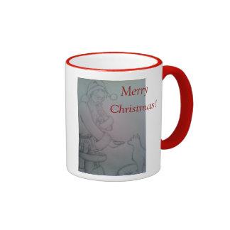 Merry Christmas mug with santa and kitty drawing