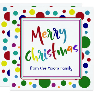 Merry Christmas Multicolored Letters Colorful Dots Card